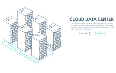 Data center banner. Servers isometric vector line illustration. Cloud hosting concept. Internet technology database. Illustration