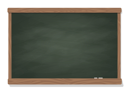 Wooden dark green blackboard with chalk isolated on a white background.