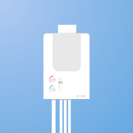 Illustration of a white water heater on a blue background