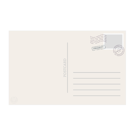Postcard template with stamps and seals.
