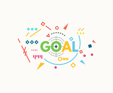 Goal text banner concept. Target sign. Motivation poster concept. Thin and thick lines illustration. Geometric text and letters, abstract shapes. Linear modern, trendy vector banner. Illustration