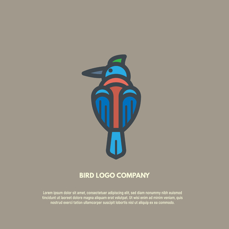 Bird logo vector illustration. Symbol of sitting blue bird with long beak and colorful wings and body. Simple shape and thick lines. Logo for company or business, birding community. Illustration
