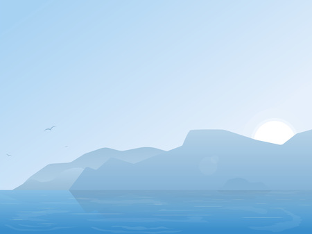 Morning nature illustration. Lake or river with mountains and morning fog. Calm water and blue sky. Beautiful summer morning on lake. Illustration