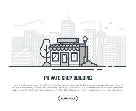 Online store building. Store building near park with trees and big city skyscrapers on background. Flat vector linear illustration. Tree and bushes with street lamp. Trendy line style vector. Illustration