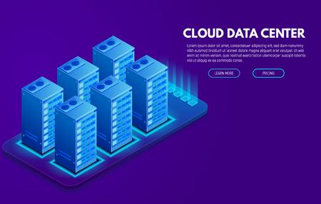 Data center banner. Servers isometric vector line illustration.