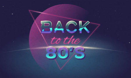 Retro style back to eighties banner. Vintage neon 80s or 90s poster. Music club or disco wallpaper. Background with Sun rising above planet. Purple and pink gradients, and shine metallic letters.