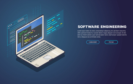 Isometric laptop with software for development. Soft, web or game development software. Web pages and window, binary code, and site. Coding notebook concept. Illustration