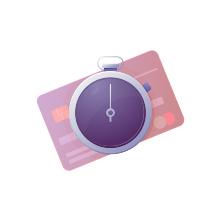 Time is money concept. Stopwatch and bank credit card. Gradients of purple and pink, modern trendy colors.