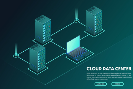 Data center banner. Servers isometric vector line illustration. Cloud hosting concept. Internet technology database. Laptop and connection to servers. Trendy modern vector with gradients.