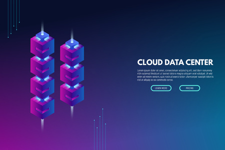 Data center banner. Servers isometric vector line illustration. Cloud hosting concept. Internet technology database. Storage and hosting technology. Trendy modern vector with gradients.