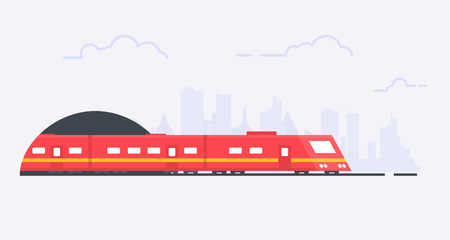 Modern suburban red train on rails and tunnel. Subway transportation design. Locomotive with passenger wagons. Journey and road adventure. Flat linear modern, trendy vector banner.