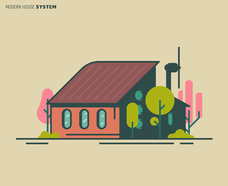 Modern eco home illustration. Building modern design. Energy conservation and wind turbine. Flat vector linear illustration. Tree and bushes. Trendy line style vector.