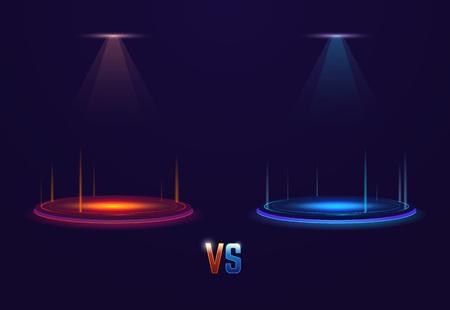 Versus leuchtender Sockel mit leuchtenden Fackeln. Kampf- oder Wettbewerbskonzeptvorlage. Rote und blaue neonleuchtende Kreise auf dem Boden. Leuchtende Projektoren von oben.