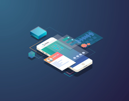 Mobile development concept. Isometric mobile phone with futuristic UI and layers of applications. App on mobile phone. Innovation in UI and software development.  Çizim