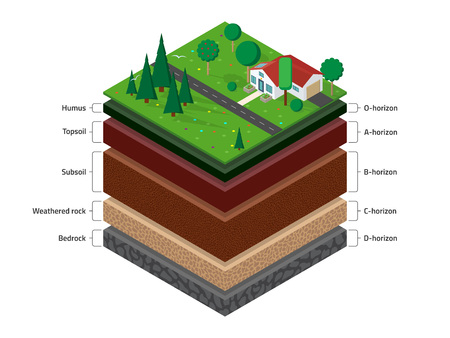 Isometric named layers of soil with a top layer of green grass,  house, forest, garden and road on it. The stratum of organic, minerals, sand, clay. Vettoriali