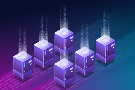 Blockchain isometric illustration. Data center or cloud storage. Crypto currency farm with isometric computers. Cloud hosting concept. Storage and hosting technology. Trendy vector with gradients.  Vettoriali