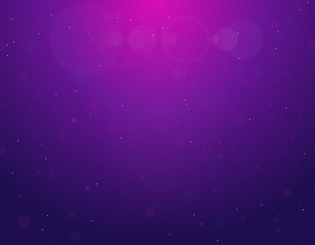Gradient background of blue and pink color. Purple light from above. Glowing circles in water. White stars or dust floating. Bubbles and blurred circles poster.