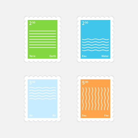 A set of postage stamps minimalistic style four elements. Earth, water, air, fire. Isolated on a light background. Paid sending a letter or postcard.