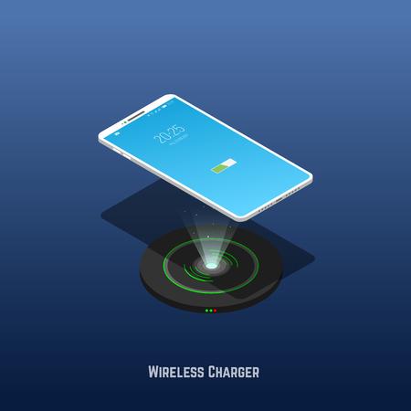 Das isometrische Mobiltelefon schwebt über dem drahtlosen Ladegerät. Banner des Ladegeräts für Mobiltelefone. Technologie zum Laden von Geräten ohne Kabel. Trendiger Gradient und isometrischer Vektor. Vektorgrafik