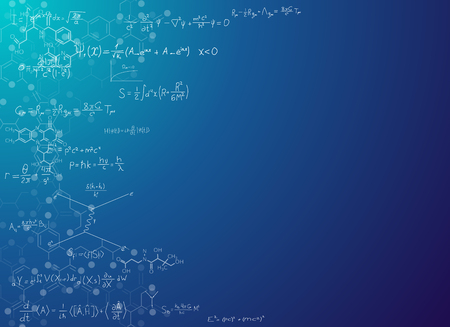 Science abstract background with formulas. Real string theory and relativity physics formulas on gradient background with chemical skeletal formula of molecules. Scientific banner for text placement. Illustration