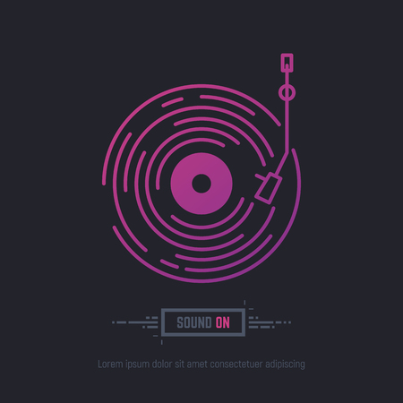 Emblem of vinyl record in purpule and pink neon gradient colors. DJ or retro party with vinyl music. Music label logo. Trendy gradient line style vector illustration.
