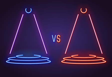 Versus glowing neon sign of pedestal with VS letters. Battle or competition concept template glowing in retro colors.Red and blue neon glowing. Shining projectors. Neon lamp bright signboard.
