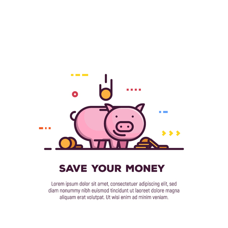 Piggy money savings line style banner. Bank and investment, save your money banner. Golden coins and cash jar in form of pink cartoon pig. Economy and financial wealth with money saving.