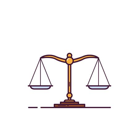 Skalen-Banner. Balance- und Gewichtsmesskonzept. Vergleich und Waagezeichen. Flache Vektorillustration im Linienstil.