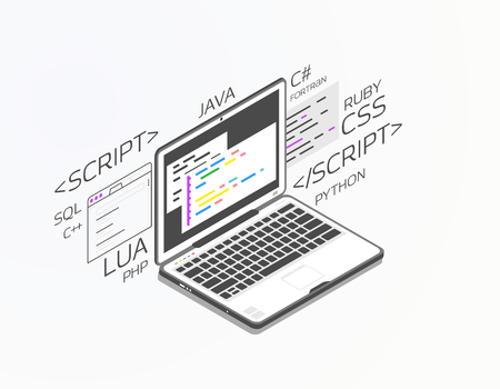 Isometric laptop with software for development. Soft, web or game development software. Web pages and window, and site. Coding notebook concept. Black and white colors.