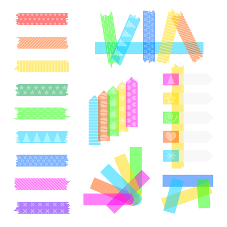 Set sweet sticky colored adhesive transparent washi tapes, stickers, and bookmarks isolated on a white background, with cute texture painted on them. Single sticky scotch and crossed with each other.