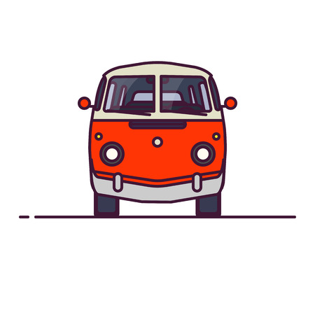 Old style two colors minivan. Front view of red retro hippie bus. Line style vector illustration. Vehicle and transport banner. Retro style old car from 60s or 70s.