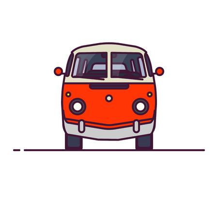 Minivan mit zwei Farben im alten Stil. Vorderansicht des roten Retro-Hippie-Busses. Linienartvektorillustration. Fahrzeug- und Transportbanner. Altes Auto im Retro-Stil aus den 60ern oder 70ern.