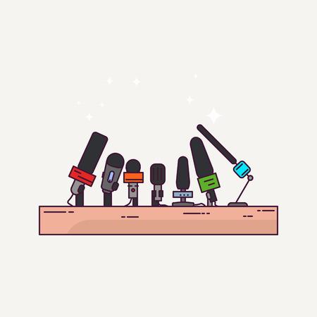 Pressekonferenz oder Interviewpodium. Nachrichten und Journalismus-Banner. Line-Style-Mikrofone. Pressekonferenz Konzept Illustration.