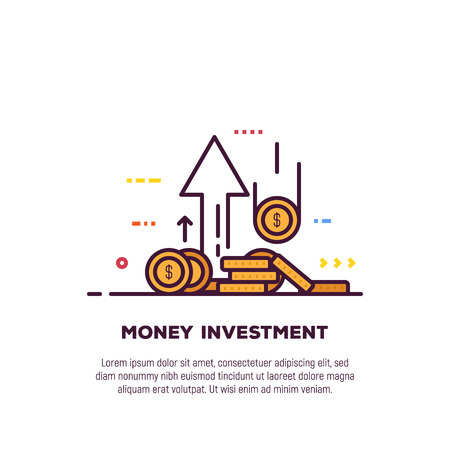 Found and investment concept. Bank and investment, financial growth banner. Golden coins with dollar sign. Economy and financial wealth with money saving and investment.