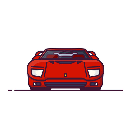 Front view of red fantasy racing sport car from 90s or 80s. Red super sport car for races. Line style vector illustration. Sport car banner. Speed and racing auto with spoiler and hidden headlamps. Ilustrace