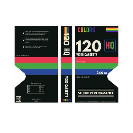 Casete de video estilo retro con tapa de tres lados. Fondo y lados de la cubierta de papel. Caja casete VHS fantasía 80s diseño.