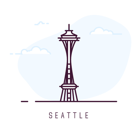 Seattle city line style illustration. Big and famous space needle tower is Seattle. Sky with clouds on background.