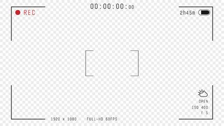 Sovrapposizione del mirino della videocamera. Formato 16: 9 full hd di frame con modello a 60 fps. Modello di vettore del telaio della fotocamera. Linee nere e testo, icona rec con informazioni e tempi su sfondo trasparente.