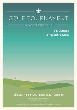 Poster di golf club in stile retrò. Cielo blu e campo da golf verde. Manifesto del concorso di mazza da golf. Segnaposto di testo di campionato o torneo. Modello per competizione di golf o evento di campionato.