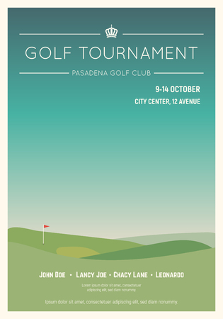 Retro style golf club poster. Blue sky and green golf field. Golfclub competition poster. Championship or tournament text placeholder. Template for golf competition or championship event. Foto de archivo - 109843241