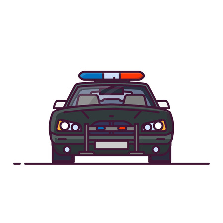 Front view of red police car with lights. Line style vector illustration. Vehicle and transport banner. Modern patrol american car.