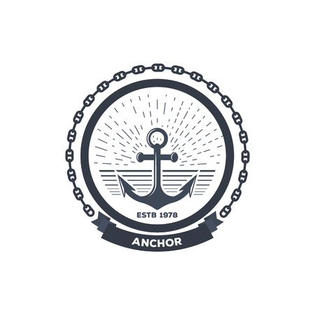 Anchor logo. Ink color sea anchor symbol with rope and chain. Banner with text and company name template. Sails and boat badge.