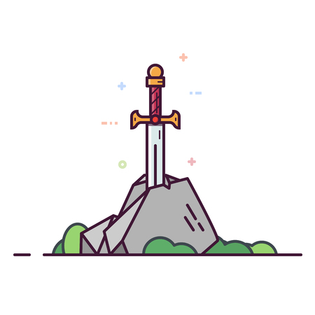 Excalibur sword in the stone. Line style vector illustration. King Arthur sword. Medival cold weapon with golden hilt.