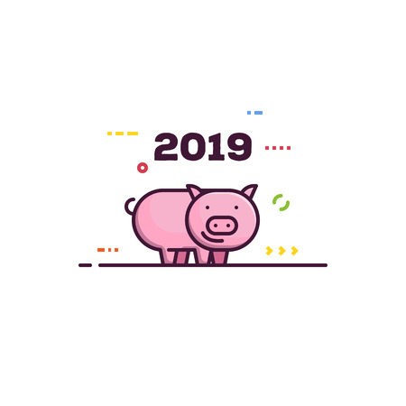 Line style new year pig. 2019 chinese year of the pig. Happy pink piggy smiling. Abstract elements and lines. Ilustração