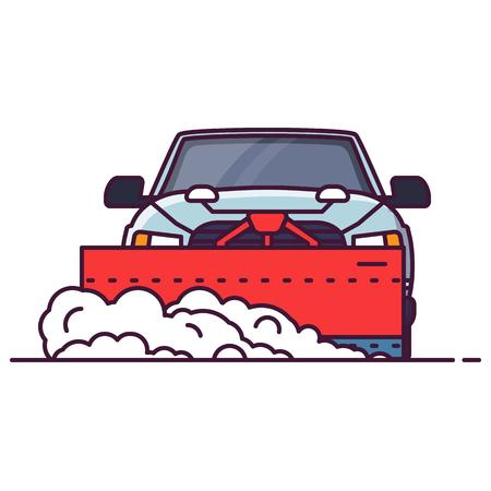 Vorderansicht des SUV-Autos mit angebauter Schneefräse. Linienstil-Vektor-Illustration. Geländewagen im Winter, der die Straße vom Schnee räumt. Reinigung der Winterstraße Großes LKW-Pixel-perfektes Banner.