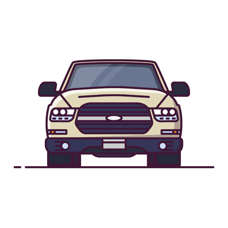 Front view of SUV. Line style vector illustration. Off road vehicle banner. Offroad modern car from front. Big truck pixel perfect banner.