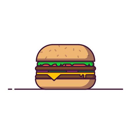 Hamburger line style vector illustration. Fastfood concept banner. Cheeseburger menu in cafe. Tasty american classic fast food burger image. Outline flat illustration. Ilustração