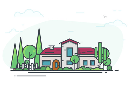 Big classic house surrounded with trees. Green park or garden. Real estate cottage background for banner. Modern line vector illustration. White fence and a lot of trees on background.