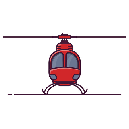 Front view of red city helicopter. Line style vector illustration. Air city transport banner. Modern helicopter with rotor. Small chopper concept. Military or civil aircraft.