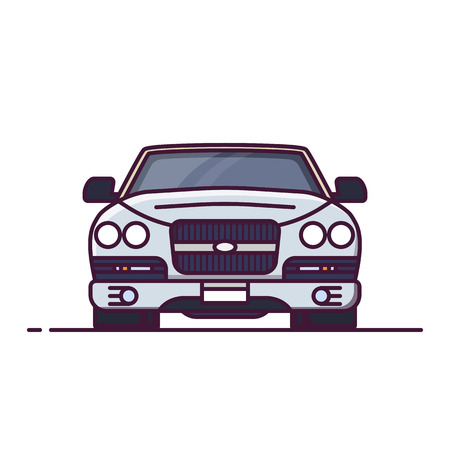 Front view of expensive, luxury car. Line style vector illustration. limousine or rich vehicle banner. Premium car from front. Vintage auto pixel perfect banner.